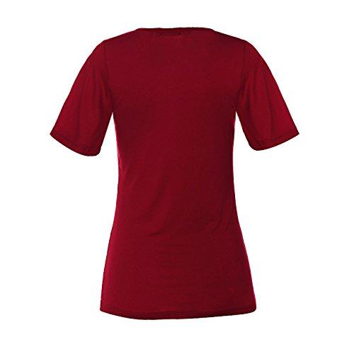 ReliBeauty Damen Kreuz Vorne Kurzarm T-Shirts Tunika Tops Rot
