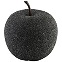 Greemotion 130488Decorar, frutas decoración de manzana, Interior/Exterior de Jardín, impermeable, frutas, piedra, pequeño, negro, 33,5x 33,5x 35cm