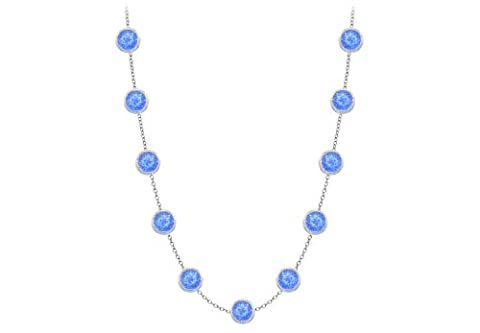 Diamonds By The Yard Blue Created Sapphires Necklace on 14K White Gold Bezel Set 2.00 ct.tw