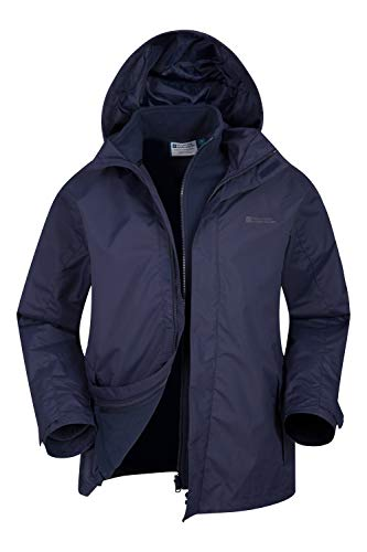 Mountain Warehouse Fell Wasserfeste 3 in 1 Herren Winterjacke, Warmer Fleecejacke, Regenjacke, Herrenjacke, Funktionsjacke, Allwetterjacke, Doppeljacke, Übergangsjacke, Frühling Marineblau X-Large