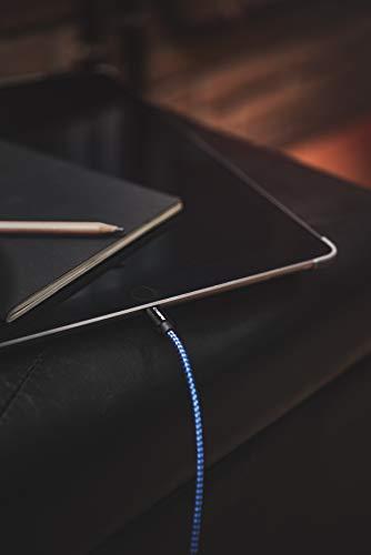 CABBRIX Cable Phone Chargeur vers USB Bleu Noir [Lot de 2/1,5m] Cable Nylon Tressé Robuste avec Connecteur Ultra Résistant en Aluminium pour Phone XR XS X 8/8 Plus 7 Se 6s 6 5c 5s Pad Pro Air M