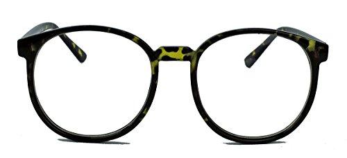 Classic Nerdbrille große runde Pantobrille Streberbrille Hornbrille clear lens Damen Herren