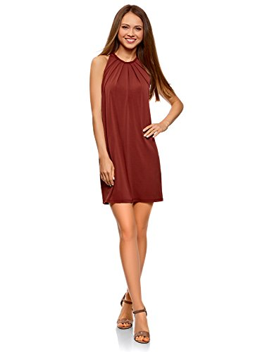 oodji Collection Damen Gerades Kleid mit Schnurband am Rücken, Rot, DE 34 / EU 36 / XS