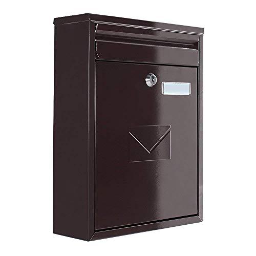 Rottner Briefkasten Como in Braun Stahl-Briefkasten Mailbox, Postkasten, Zaunbriefkasten, 2 Einwurfschlitze, Namensschild