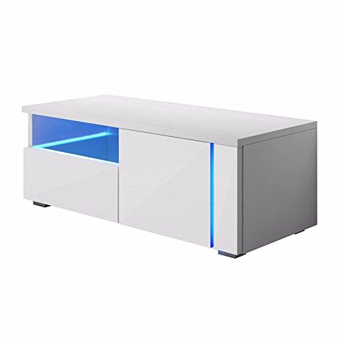 Selsey Oxy Single – TV-Lowboard/Fernsehschrank/Fernsehtisch mit Schrankfächern und offenem Fach auf der linken Seite (100 cm, in Weiß mit LED-Beleuchtung)