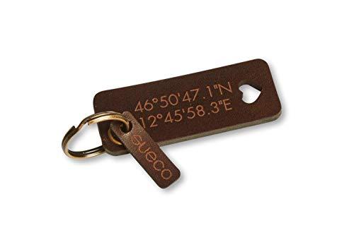 Schlüsselanhänger mit Name (Text, Initialen, Logo) // pflanzlich gegerbtes 4,5mm Starkes Leder // handgefertigt in München // Natur, Braun oder Schwarz // Modell ÖSE 4MM (Braun)