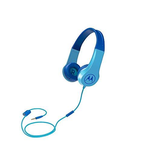 Motorola Squads 200 - Kabelgebunder Kinderkopfhörer - Begrenzter Lautstärk mit 85 dB, Flexibel und langlebig, Gehörschutz und Musik-Sharing-Funktion, Anti-Allergie-Kissen (BPA-frei) - Blau