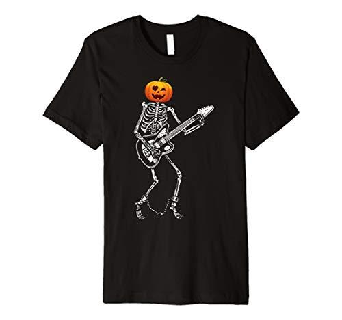 (Kürbis Skelett Spiel Gitarren lustiges Halloween T-Shirt)