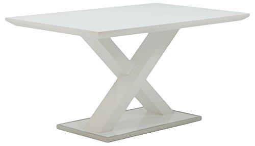 Cavadore Esszimmertisch Xaver / Moderner Esstisch in Hochglanz Weiß / 120x80x75 cm (LxBxH)