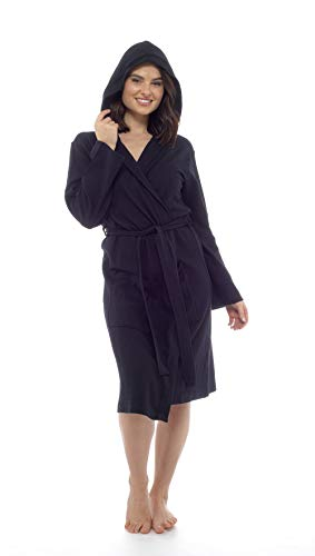 CityComfort Damen Bademantel aus Reiner Baumwolle Damen Waffel Kimono (S, Schwarze Kapuze)