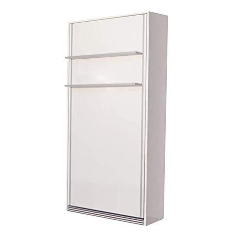 Zata Home Primer 90x190 Vertikal Weiß Schrankbett, ausklappbares Wandbett, Funktionsbett ideal geeignet als Wandklappbett fürs Gästezimmer, Büro, Wohnzimmer, Schlafzimmer (90 Vertikal)