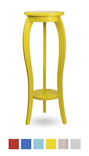 Ständer Hocker Beistelltisch Konsole aus echtes Holz (Gelb, 28x75)