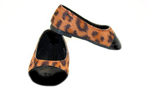 Patent-leopard (Arianna® Leopard Patent Toe Ballet Flat Shoes Fits Most 18 Inch Dolls)