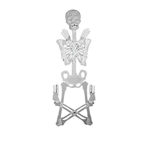 l Dekoration Set 150cm Halloween frequentierte Hausstabdekoration Partei leuchtendes Skelett einen geladenes Skelett für Halloweendeko Make-up-Party Halloween Dekoration ()