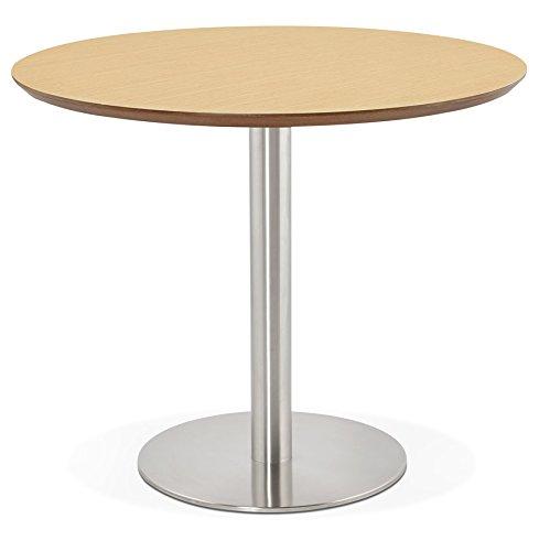 Petite Table de Bureau/à Diner Ronde 'Indiana' en Bois Finition Naturelle - Ø 90 cm