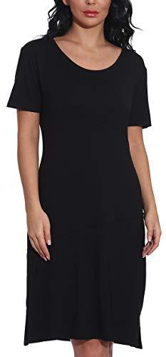 Sommerkleid Damen T-Shirt Kleid Tunika Kurzarm Kleider Rundhals MiniKleid Casual Lose Langes Shirt Freizeitkleid mit Tasche