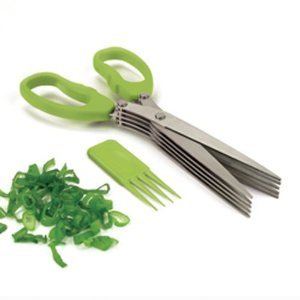 Okayji Multifunction 5 Blade Vegetable Stainless Steel Herbs Scissor with Blade Comb (Color may vary)