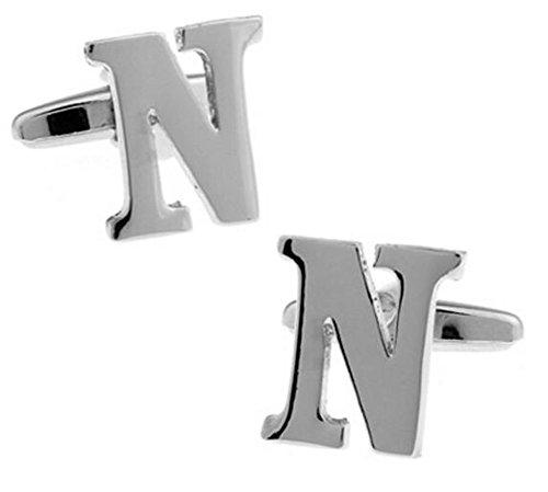 Hosaire Hemd Manschettenknöpfe Englisches Alphabet Design Shirt Cufflinks Mode Herren und Damen Hochzeit Hemd Deko Manschettenknopf (Silber N)