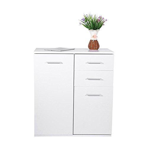 Gototop cassettiera armadio 4 cassetti e 1 porta legno per salotto e cucina,comodini letto archiviazione da ufficio classificatore