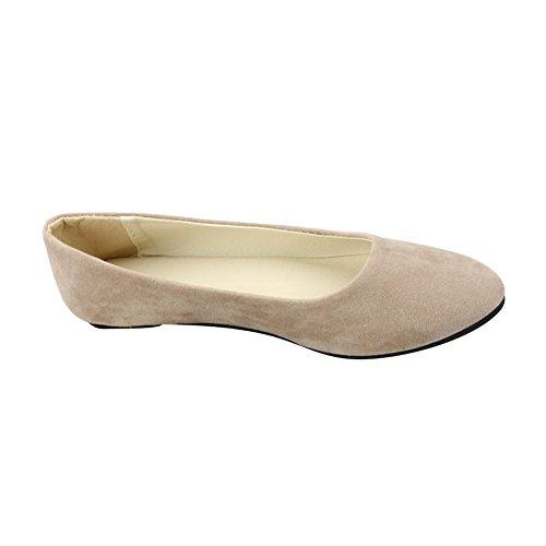 Mujer Bailarinas Básicas de Piel Sintética Zapatos Planos Ocio y Moda,Caqui,EU 41