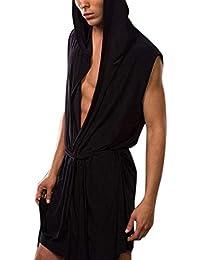 XuBa Men's Sex-y Casual Night-Robe Sleeveless Sleepwear Hooded Ultra-Thin Pajama