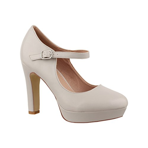 Elara Damen High Heels | Bequeme Spangen Pumps | Riemchen Vintage | Chunkyrayan | E22320 lt.Grey-41