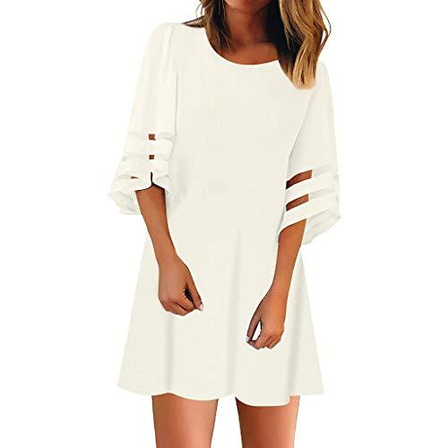 Damenbekleidung Dasongff Rundhals Swing Kleid Organza Patchwork Tshirt Kleider Modisch Stretch Figurbetont Sommerkleid -