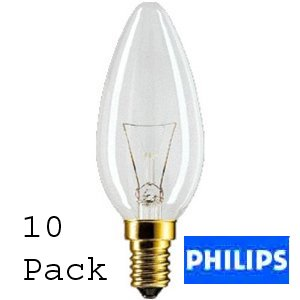 10er Pack Philips Kerze/candle 40W klar E14 klar/clear