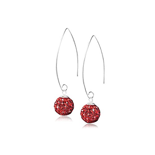 MATERIA Durchzieher Ohrringe Kristall Kugel Silber 925 Rot Damen + Box SO-123r (Kugeln Kristall-box)