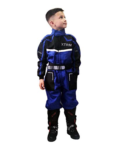 Kinder Kart Anzug XTRM Motorrad Quad Off-Road Suit Kinder Cross Sports Rennanzug für Motocross, Dirt Bike MX ATV PITBIKE Kart Motorroller Overall (Blau,L)