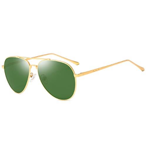 CHKE Outdoor Metall Sonnenbrillen, Military Style Classic Pilot Männer und Frauen Polarisierte Sonnenbrillen Retro Ultraleicht Sonnenbrillen Metall Double Beam Large Frame Mirror,Green