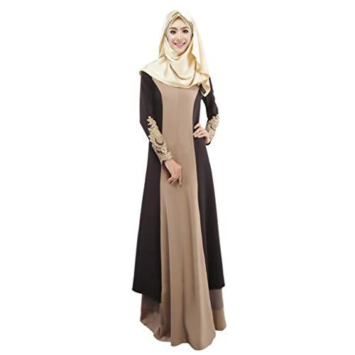 EUCoo Frauen Muslimischer Langer Rock Islamische Roben Casual LangäRmelige SpitzenäRmel Kontrastfarbenes Mosaikkleid(Kaffee, XL) -