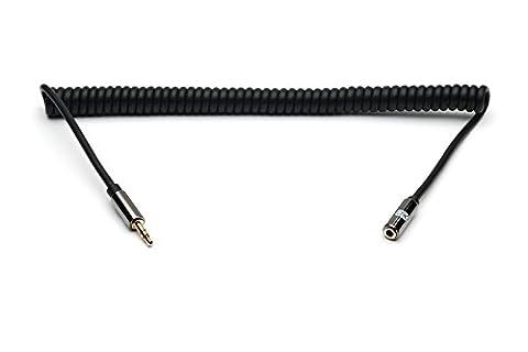 XO 3.5mm Stereo Audio Spiralkabel schwarz, 3m - Audio Verlängerungskabel