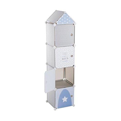 Schrankkommode – in Turm-Form – Farbe BLAU GRAU und WEIß