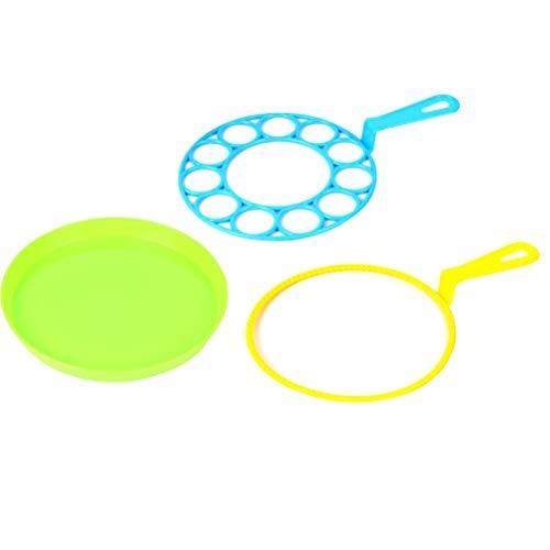 LIOOBO 3 stücke Kinder Outdoor Blasen Blase Gebläse Kreative Große Blase Ring Spielzeug Blase Sets Bubble Maker Spielzeug für Kinder Jungen und Mädchen (Blase Werkzeug Zwei Gebläse und Eine Platte) -