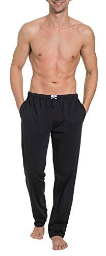 HAASIS BODYWEAR, Herren Pyjamahose lang mit Seitentaschen, Single Jersey, Reine Baumwolle, Gummibund mit Kordel, Größe:M, Farbe:schwarz -