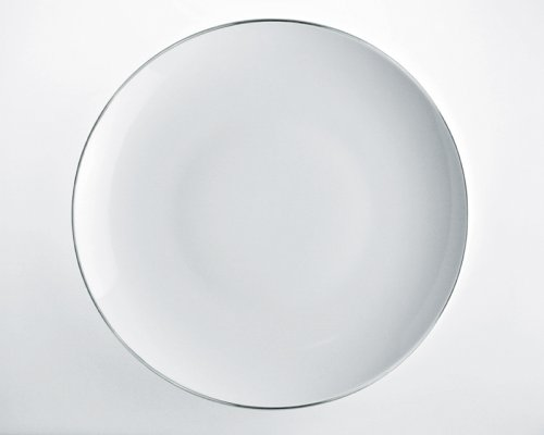 Alessi Sg70/21 Mami Platinum Plat de Service Rond en Porcelaine Blanche, Décorée