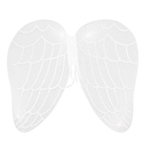 IPOTCH Glitzer Elfen Flügel Fee Elfe Kostüm Schmetterlingsflügel l für Karneval, Fasching, Halloween, Motto Party / Verkleidung - Weiß Engel, 43 x 40 ()