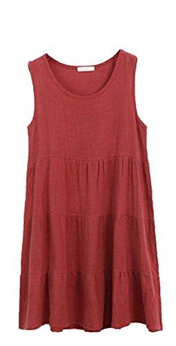 Blansdi Femme Robe en Coton Sans Manches Col Rond à Bretelle Boho A-Lin Tunique Lâce Large Casual Robe Rouge