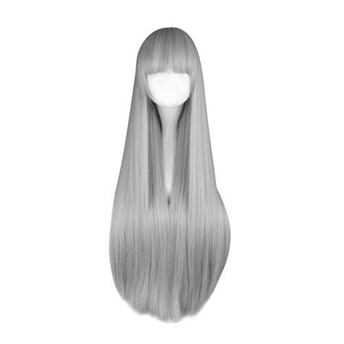 n Anime Cosplay Perücke Grau natürliche gerade Perücke (Grau Haarspray Halloween)