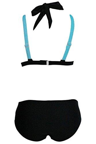 Centrawin Damen Mädchen Zweiteilige Neckholder Push Up Bikini Set Badeanzug 171blueS