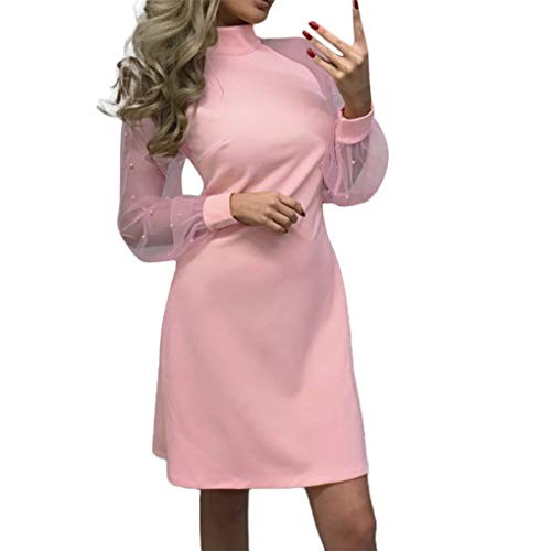 Beikoard Damen Kleid Kurzes A-Line Mini Partykleid Brautkleid Spitze Langarm Ballkleid Elegante...