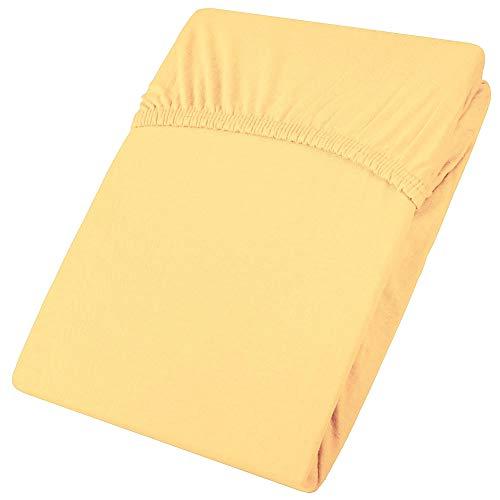 sábana Bajera Ajustable, algodón, Amarillo, 90x200 bis 100x200 cm