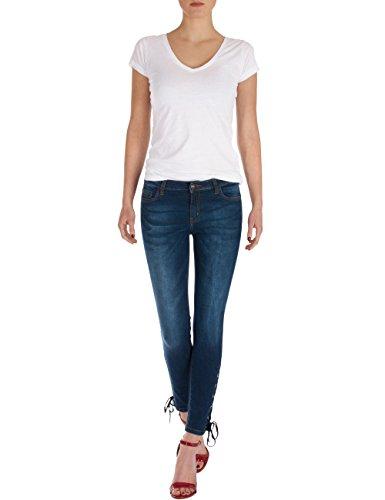 Fraternel Jeans donna skinny aderente allacciato Blu scuro