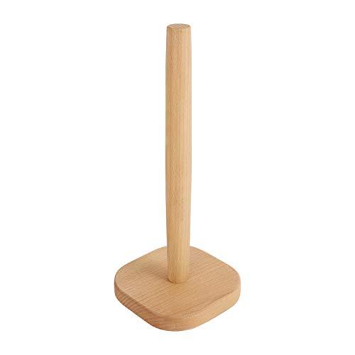 IPENNY Küchenrollenspender Buche Papier Handtuchhalter ohne Lack Papierrollenständer Rollenpapier Lagerregal mit Holzboden für Home Küche Wohnzimmer