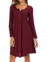 0069cffcc7 Eanklosco Womens V Neck Dress Casual Swing Simple Ruffle Button up Loose  Dresses Long Sleeve