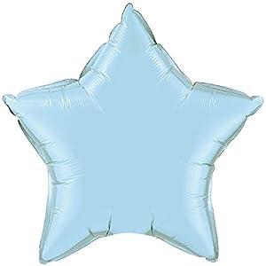 Qualatex 54802 - Globo de papel de aluminio, diseño de perlas de estrella de 51 cm, color azul claro