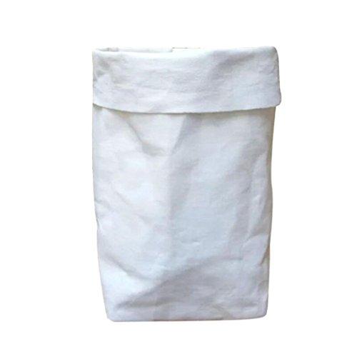 Jaminy 2018 Alles speichern Waschbar Aufbewahrungstasche, Waschbar Kraft Papiertüte Pflanze Blumentöpfe Multifunktion Heim Speicher Beutel Wiederverwendung 12X12X23cm (Weiß)