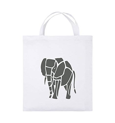 Buste Comiche - Elefante - Borsa Di Juta - Manico Corto - 38x42 Cm - Colore: Nero / Bianco Bianco / Grigio
