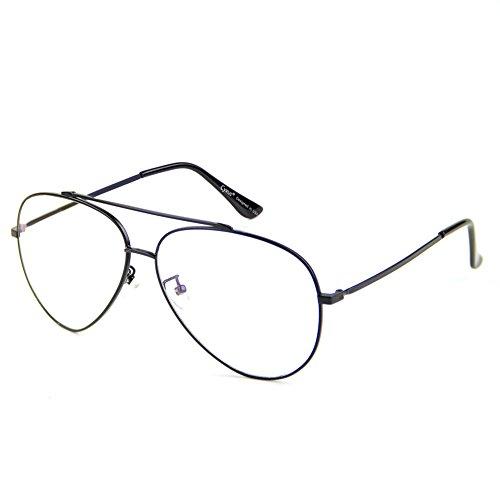 Cyxus pilotenbrille metallrahmen gläser blaue licht blockieren brille bildschirmbrille schützt die augen [transparente linse] besserer schlaf, schwarz